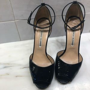 "MANOLO BLAHNIK Black Patent Leather 4"" Heel - 37.5"